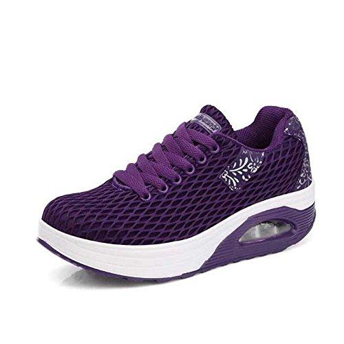 púrpuras SHINIK las negros mujeres atléticos ocasionales 35 Zapatos de grises sacudida de ligeros de Zapatos respirables 41 verano del malla Zapatos Púrpura Tamaño la súper IRCrwqxR