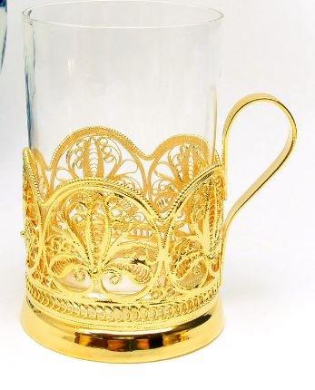 "Russian Filigree 24Kt Gold Plated ""Anna"" Tea Glass Holder..."