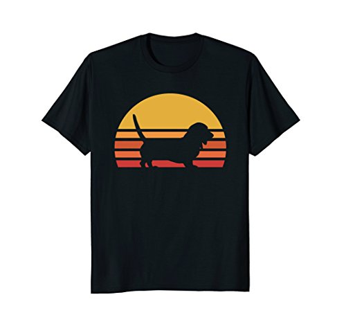 Retro Basset Hound Silhouette Sun Shirt
