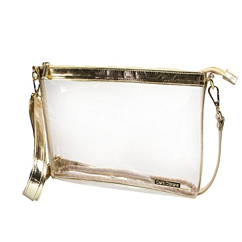 Capri Designs Large Crossbody Purse - Gold & Clear Premium Crossbody Bag by Capri Designs