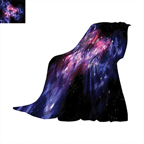 Space Decorations Blanket Dusty Gas Cloud Nebula and Star Clusters in The Outer Space Cosmos Solar Deco Print Bed Blanket Navy Purple. 60