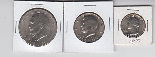 1976 Bicentennial Coins (3) Eisenhower Ike Dollar, Kennedy Half Dollar,and Washington Quarter All Dated 1776-1976 About (1776 1976 Dollar Coins)