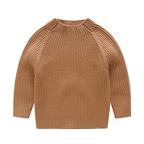 KIMJUN Toddler Baby Boys Girls Pullover Sweater Kid Solid Cable Knit Sweatshirt Brown 90