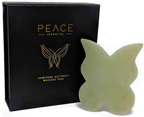 Jade Gua Sha Butterfly Scraping Massage Tool, Gua Sha Tool for Face + Body Massage, 100% Natural Gua Sha Jade Stone, 3 Unique Sides for Multiple Benefits, Jade Butterfly