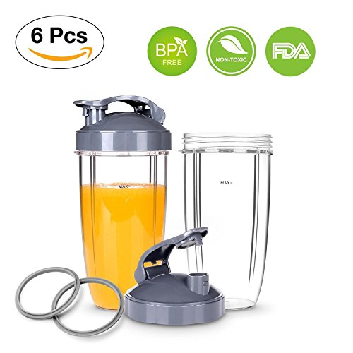 NutriBullet Replacement Cups with Flip Top To-Go Lid for NutriBullet 6-piece High-Speed Blender/Mixer, Gasket and 32oz Cups for Nutribullet by NutriBullet