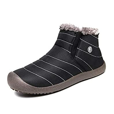 5bade283ea7 aeepd Winter Snow Boots Slip on Ankle Bootie Men Women Water-Resistant  Anti-Slip Fur Lined Shoes