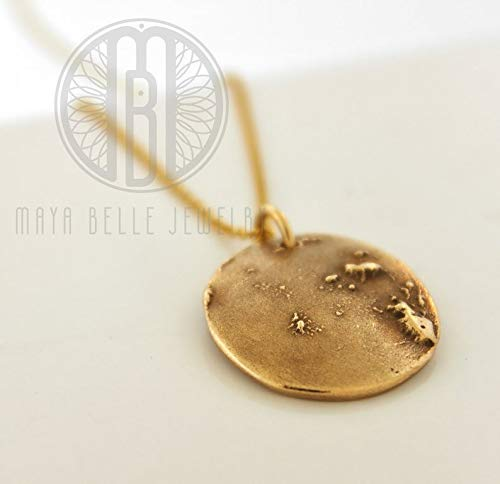Handmade from an image of the ACUTAL Moon! Solid bronze pendant with 14k gf adjustable chain