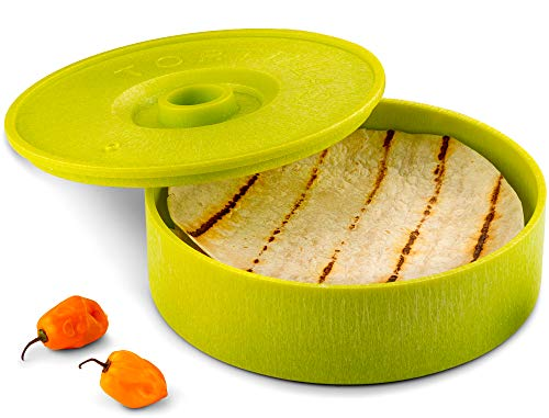 (KooK Tortilla Warmer, 8 inch, Holds up to 12 Tortillas (Green))