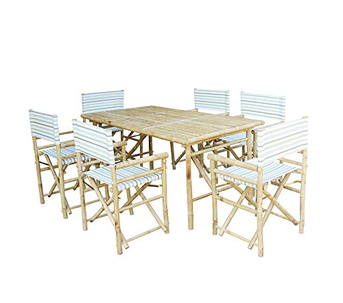 Wood & Style Bamboo Rectangular Table with 6 Director Chairs Decor Comfy Living Furniture Deluxe Premium Collection ()