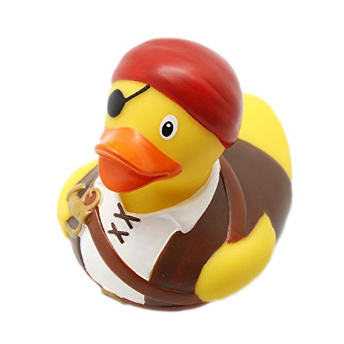 Lilalu 8 x 8 cm 50 g 1836 Collector and Baby Pirate Rubber Duck Bath Toy - Pirate Rubber Ducks