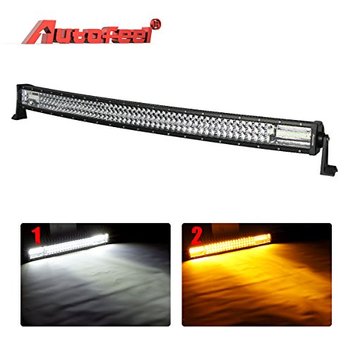 LED Light Bar Curved, Autofeel 42 inch 304W Triple Row Driving Light Emergency Light Fog Light Snow Lights Flashing Amber Light Off Road Light for Pickup Truck Jeep ATV UTV Wrangler SUV Dodge Ram Ford