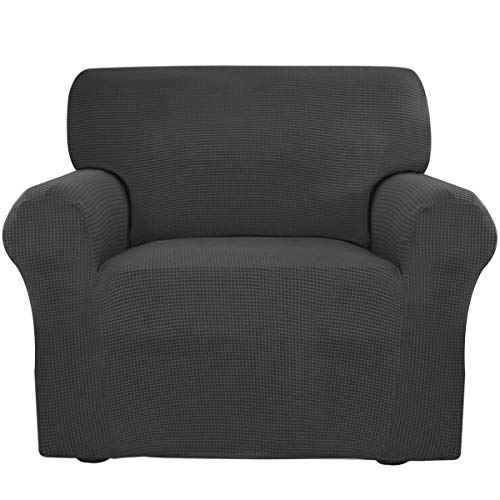 Easy-Going Stretch Slipcovers, Sofa Covers, Furniture Protector with Elastic Bottom, Anti-Slip Foams, 1 Piece Couch Shield, Polyester Spandex Jacquard Fabric Small Checks (Chair, Dark Gray) ()
