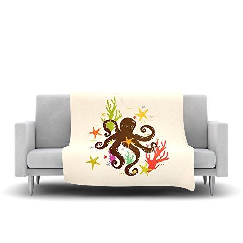 Kess InHouse Strawberringo Friends Around The Sea Octopus Tan Fleece Throw Blanket 40 x 30