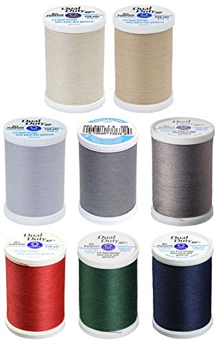 8 Color Bundle - Dual Duty XP General Purpose Thread 250yds Each - Natural + Buff + Dark Silver + Light Slate + Stone + Atomic Red + Hunter Green & Navy