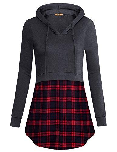 MCKOL Women's Plaid Hem Pullover Hoodies V Neck Long Sleeve Tunic Sweatshirt