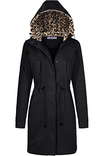 BodiLove Women's Anorak Jacket Parka Outwear with Fleece Hoodie Black ()