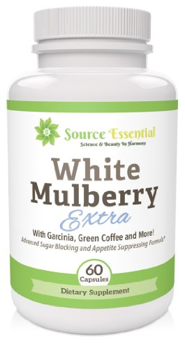 UPC 820103237765, White Mulberry Extra - with Green Coffee Bean, Garcinia Cambogia, African Mango Extract and White Mulberry Leaf Extract. Appetite Suppressing, Sugar Blocking and Fat Burning - White Mulberry Supplement in easy swallowing capsules.
