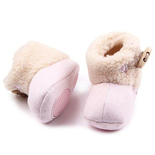 Mantenga Botas Rosa Cálida Suela Niño De Auxma Suave Bebé Zapatos Invierno Cuna Nieve tfwxAqA87