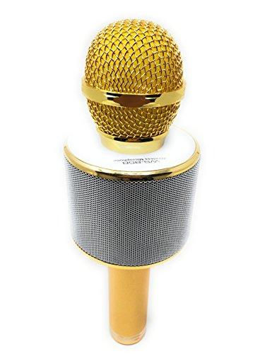 DLH MOBILE Portable Wireless Karaoke Microphone,Handheld Cellphone Karaoke Player Built-in Bluetooth HIFI Speaker, Selfie 3-in-1 Rechargeable Li-battery Karaoke KTV MIC Machine Gold (WS858) by DLH MOBILE (Image #2)