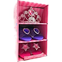 Princess Pretend Play Set Tiara Dress Up Play Set Crowns Wands Ring (Two Shoes and 1 Tiara)