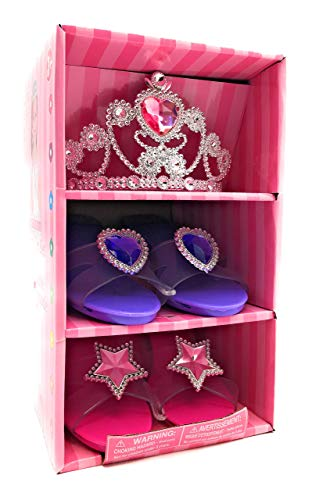 Oojami Princess Pretend Play Set Tiara Dress Up Play Set Crowns Wands Ring (Two Shoes and 1 Tiara)]()