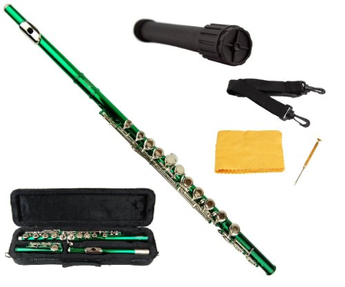 Merano Green / Silver Flute with Carrying Case+Black Stand+Clean Rod