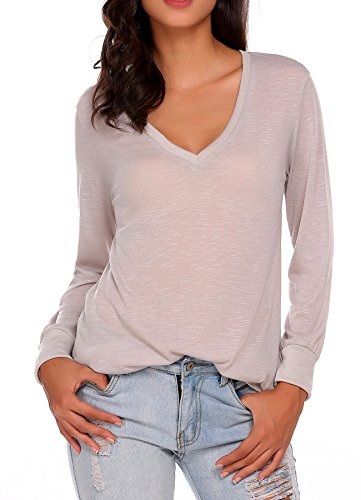 Unibelle Womens Long Sleeve Tops Cotton Blend V Neck Casual Teen Girls Tees Loose T Shirts, Gray, X-Large Sleeve V-neck Burnout Tee