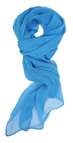 Love Lakeside Modern Chiffon Solid Color Silk Blend Oblong Scarf Bright Blue ()