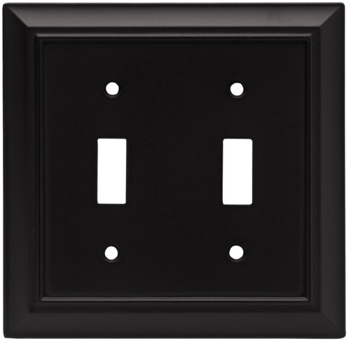 Brainerd 64217 Architectural Double Toggle Switch Wall Plate / Switch Plate / Cover, Flat Black