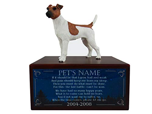 (Conversation Concepts Beautiful Paulownia Small Wooden Urn with Brown/White Fox Terrier Figurine & Personalized Poem The Last Battle)