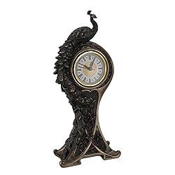 Resin Mantel Clocks Art Nouveau Style Bronzed Finish Peacock Mantel Clock 6.25 X 14.15 X 3 Inches Bronze