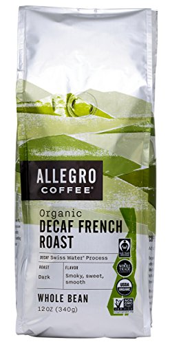 Allegro Coffee Decaf Organic French Roast Whole Bean Coffee, 12 (Organic Coffee Whole Bean French)
