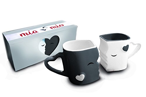 Mia ♥ Mio - Coffee Mugs/Kissing Mugs Set Ceramic with Gift Box (Gray) (Couple Ceramic)
