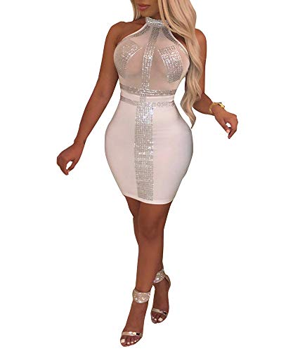 Nhicdns Women's Sexy Halter Neck Rhinestone Mesh See Through Sequins Sheer Bodycon Backless Bodycon Cocktail Mini Dresses -