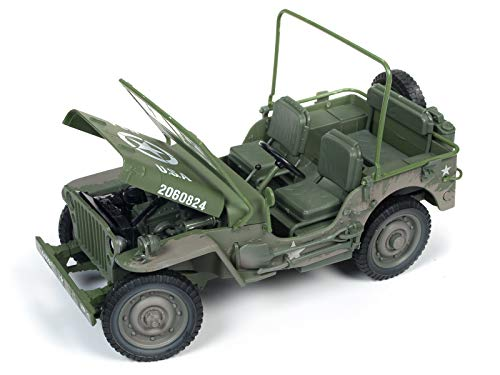 (1941 Willys MB Jeep WWII U.S.A. Olive Green Drab Mud Covered/Dirty 1/18 Diecast Model Car by Autoworld AWML005 B)