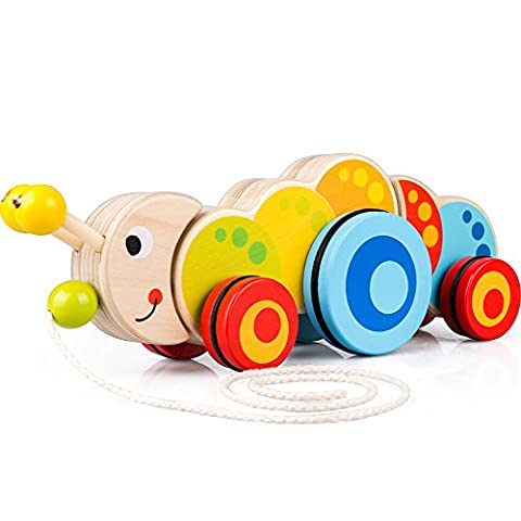 Wooden Pull Toys for 1 Year Old, Caterpillar Push Toy for Toddler Children Kids