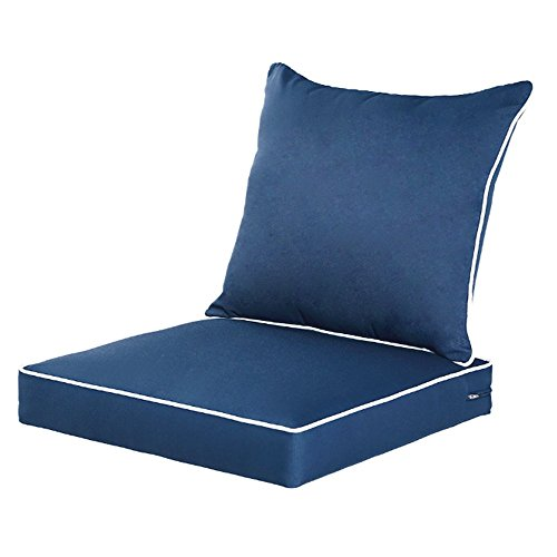 (QILLOWAY Outdoor/Indoor Deep Seat Chair Cushions Set,Replacement Cushion for Patio Furniture,Navy Blue )