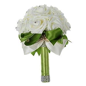 TOOGOO(R) Beautiful Wedding Bouquet Bridal Bridesmaid Flower wedding bouquet artificial flower rose bouquet white bridal bouquets-Green Ribbon 56