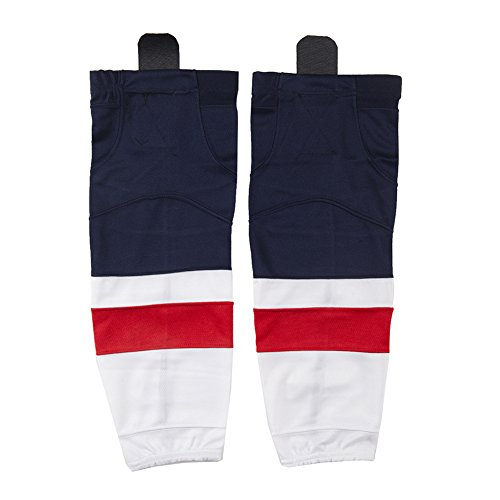 COLDINDOOR Ice Hockey Socks Men, Unisex Senior Dry-fit Stripe Mesh Hockey Socks Adult Sizes Navy Blue L