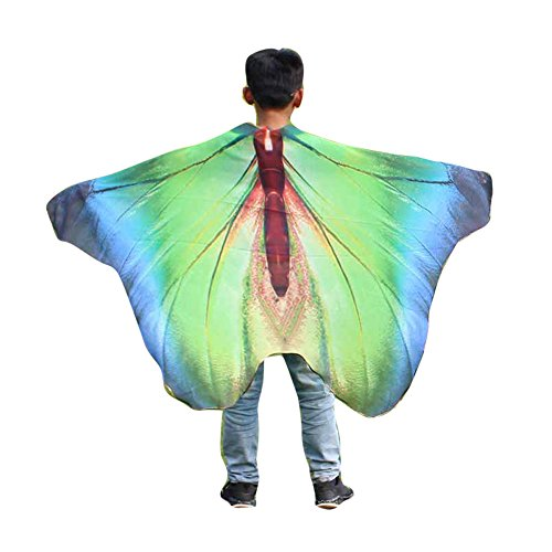 (iLXHD Child Kids Boys Girls Chiffon Bohemian Butterfly Print Shawl Pashmina Costume)