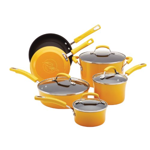 Rachael Ray Porcelain Enamel II Nonstick 10-Piece Cookware Set, Yellow Gradient