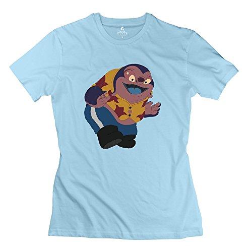 XY-TEE Women's Short Sleeve T-shirt Stitch Doctor Jumba Jookiba Disney Series SkyBlue Size L