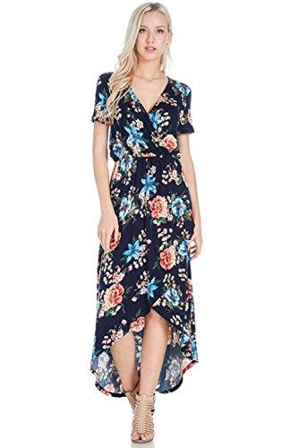 Manches Courtes Femmes Rose Bon V-cou Imprimé Floral Salut-bas Navy1 Robe