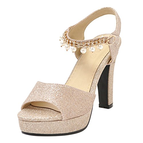 YE Women's High Stiletto Heels Ankle Strap Buckle Shoes Pearl Pendant Elegant Platform Sandals Gold