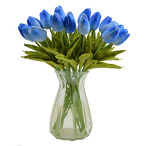 Packozy 20 pcs PU Real-Touch Artificial Tulip Flowers 13.3