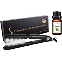 Vakker Professional Hair Straightener, Steam Styler, Zero Damage, Ceramic Tourmaline Flat Iron Salon Heater, Bonus with Argan Oil