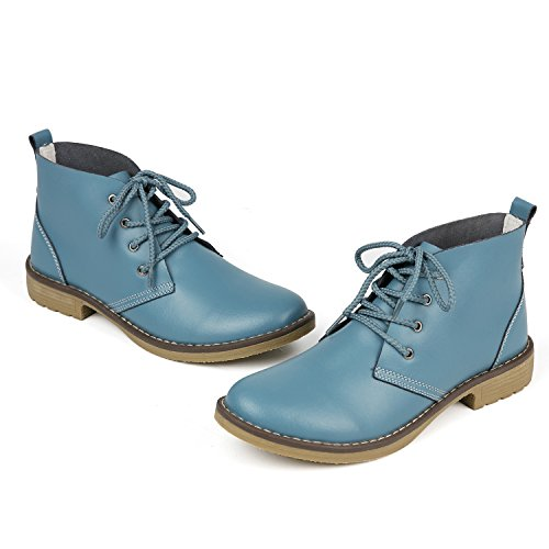 Weideng Blue High Lace Flat Boots Shoe Leather Women up Fashion Style Casual Shoes Candy Classic Genuine Color rwBrTf