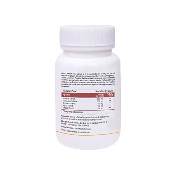 Biotrex Nutraceuticals Weight Grow Herbals - 60 Veg. Capsules, Weight Gain and Muscle Growth for Men and Women with… 2021 July 100% Herbal Supplement : Biotrex Weight Grow Herbals supplement contains Shatavari Extract, Ashwagandha Extract, Cinnamon Extract, Arjuna Extract, Amalaki Extract. Natural effective weight gain : Weight Grow Herbals is a healthy way to gain weight and is suitable for both gym goers and people with sedentary life style (both male and female). Other gain : Gain Muscle Mass, Increase stamina, boost immunity, easy to digest and gain the weight.