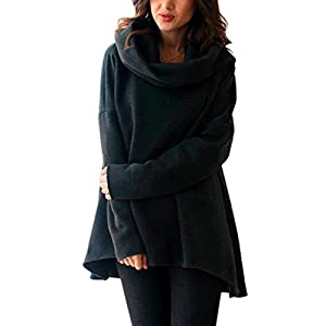 Women Tops, Gillberry Womens Long Sleeve Hoodie Scarf Collar Sweatshirt Jumper Pullover Blouse (Black, S)