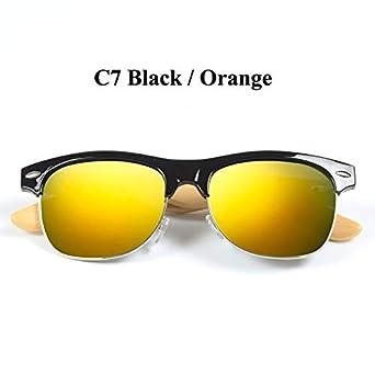Amazon.com: Gafas de sol retro de bambú para mujer, gafas de ...